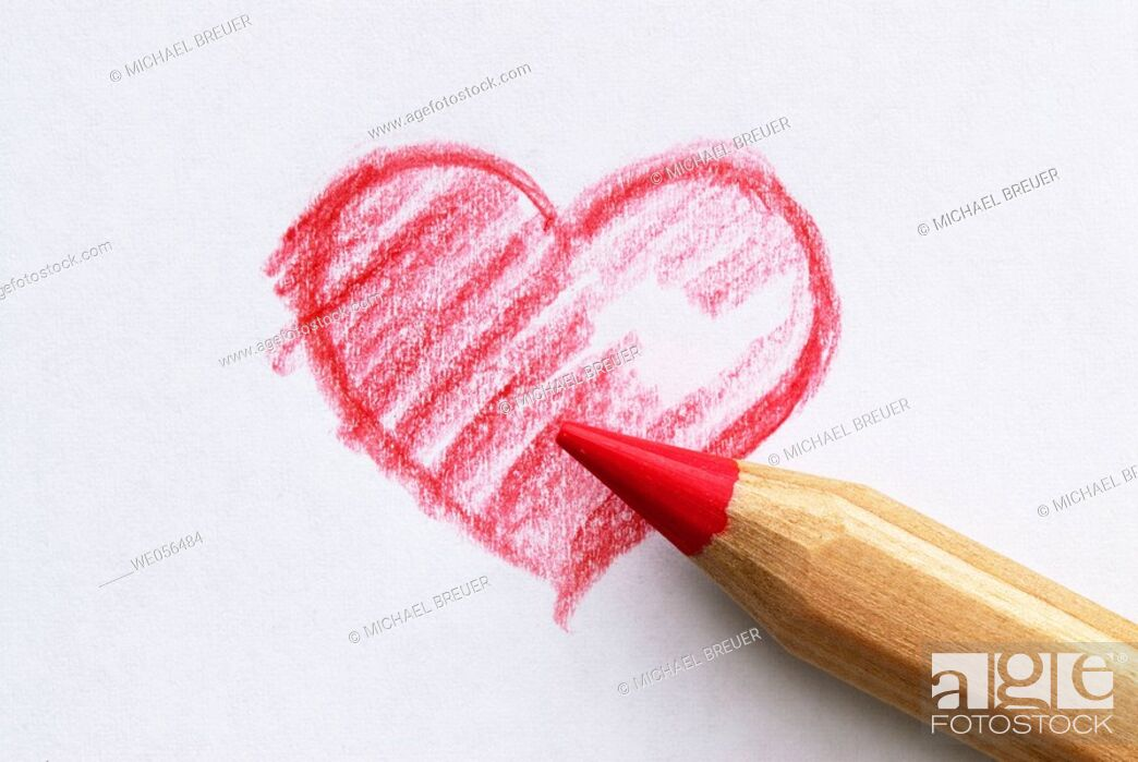 Stock Photo: Heart, drawing with crayon.