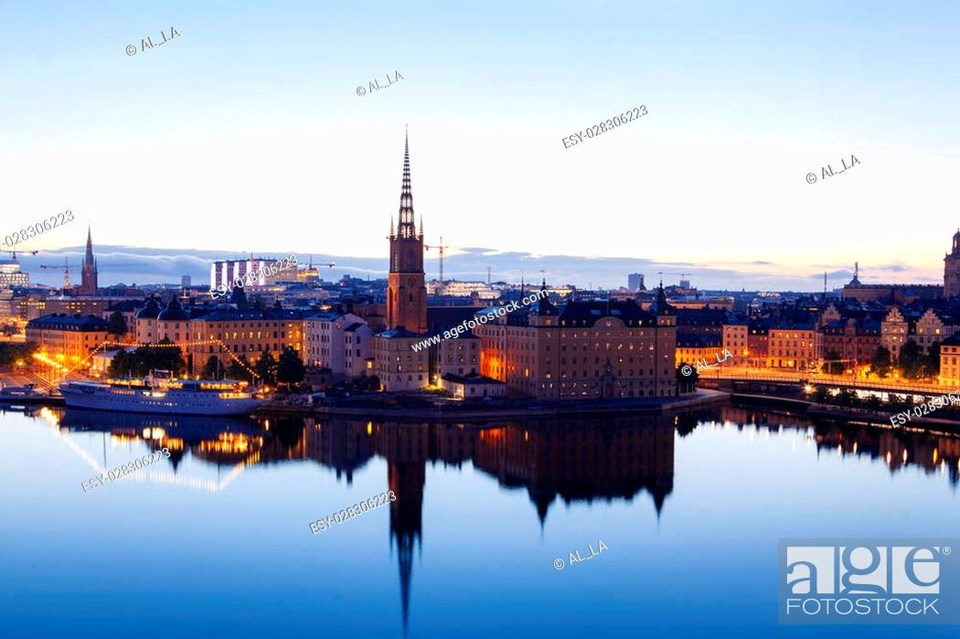 Stock Photo: Scenic evening panorama of Stockholm, Sweden.
