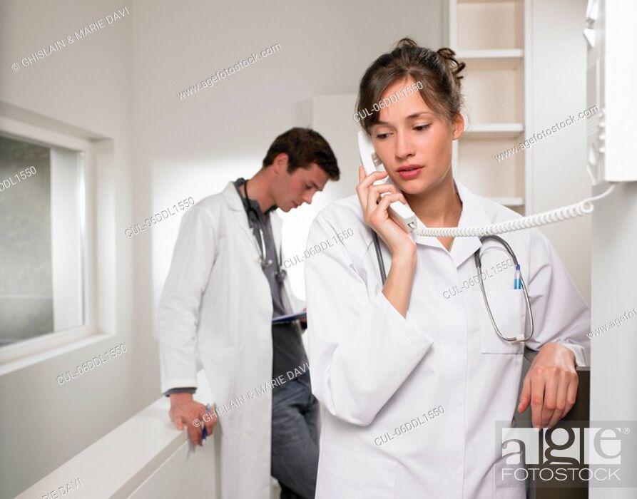 Stock Photo: Doctors on the phone.