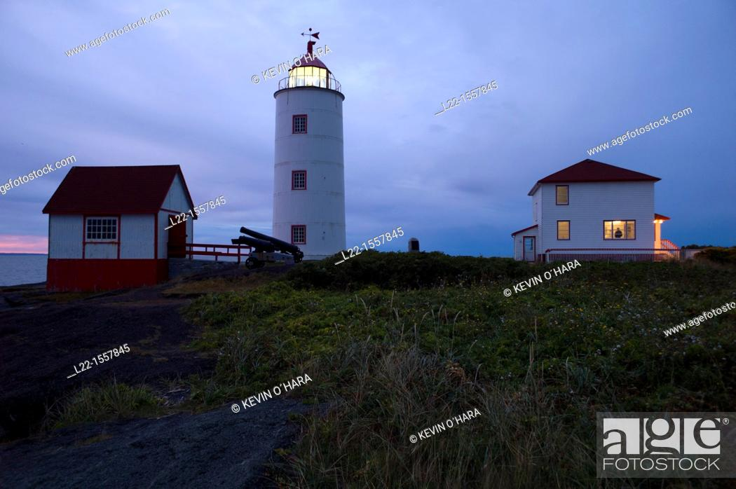 Stock Photo: Dating from 1809, the lighthouse is the oldest on the St. Laurent and the third in Canada. L'île Verte Green Island is an island in the estuary of the St.