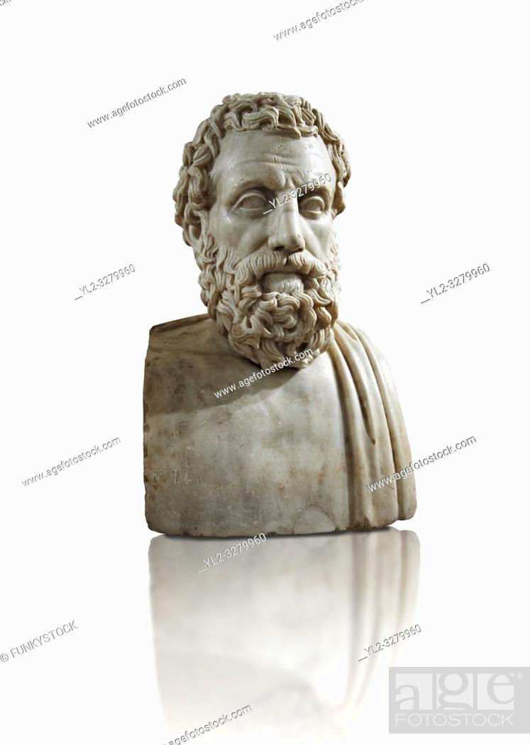 Stock Photo: Roman marble sculpture bust of Aeschines, 23BC yo 14 AD Augustin copy from an original 340-330 BC Hellanistic Greek original, inv 6139, Museum of Archaeology.