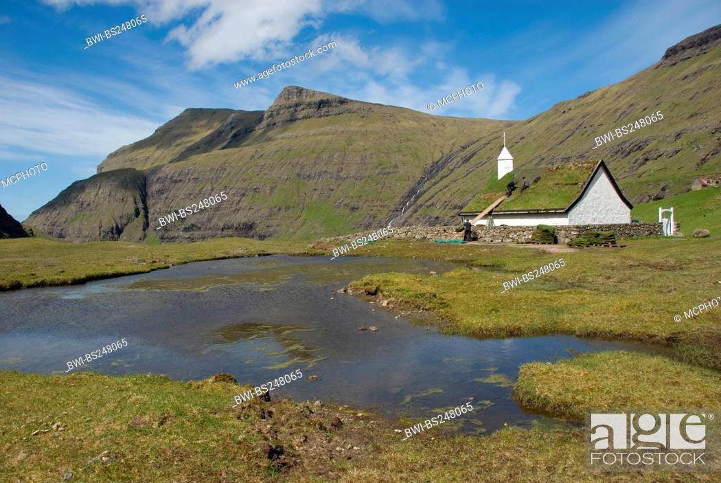 Stock Photo: church in Saksun with roof with grass, Denmark, Faroe Islands, Streymoy.