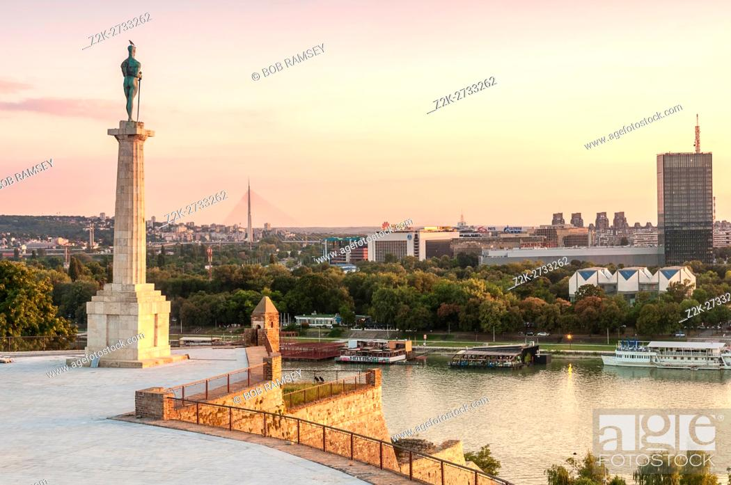 Stock Photo: Pobednik ('The Victor') monument, Belgrade Fortress, Belgrade, Serbia.