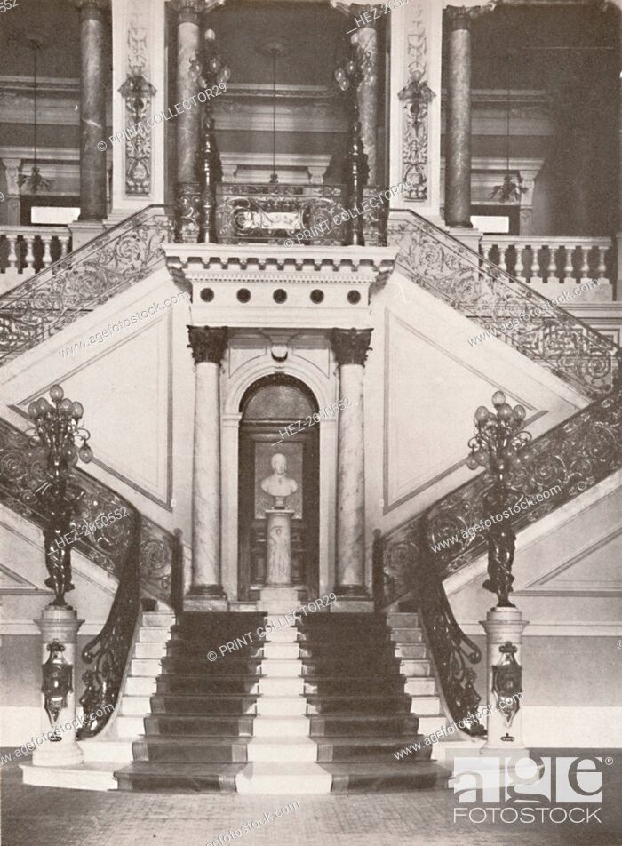 Stock Photo: 'The National Library staircase', 1914. Artist: Unknown.