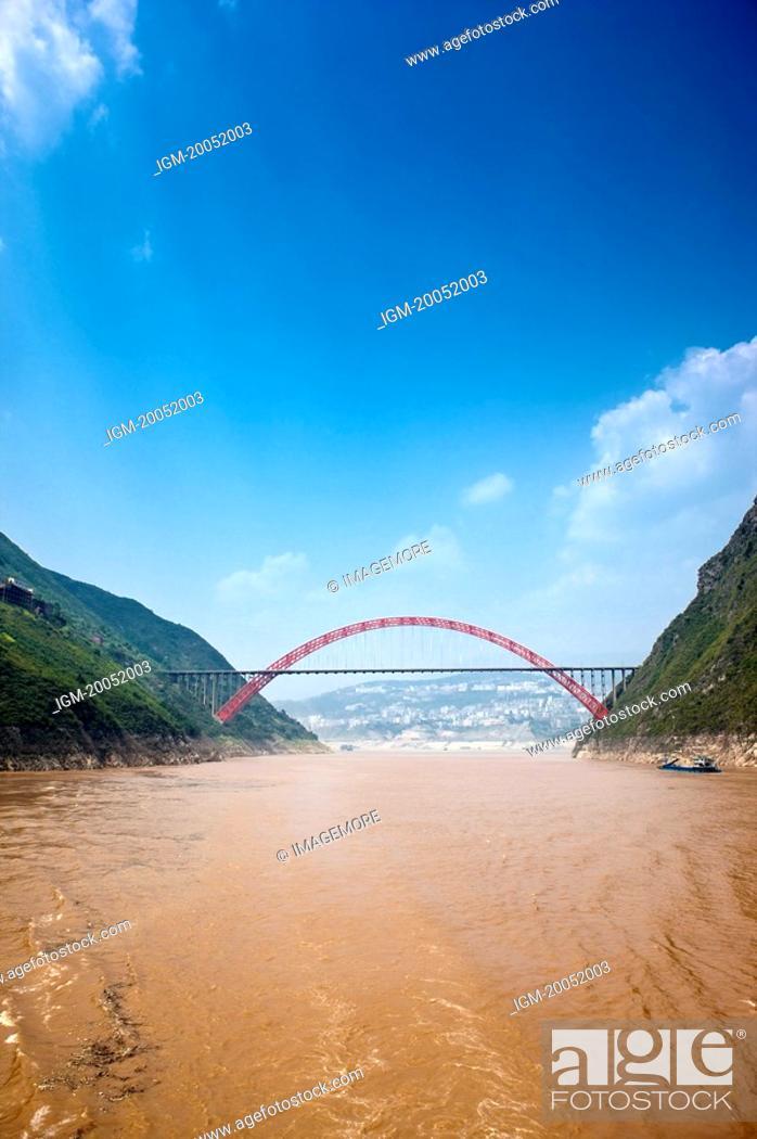 Stock Photo: Wu Gorge Bridge on Yangtze River, Wu Gorge, Three Gorges in Yangtze River, China.