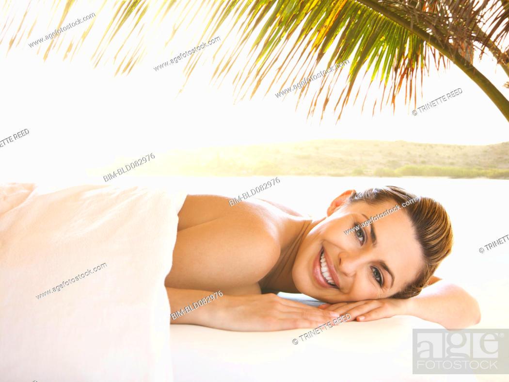 Stock Photo: Caucasian woman waiting for massage.