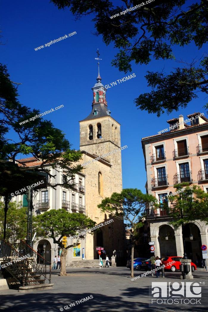 Stock Photo: Iglesia de San Miguel and Plaza Mayor, Segovia, Spain.