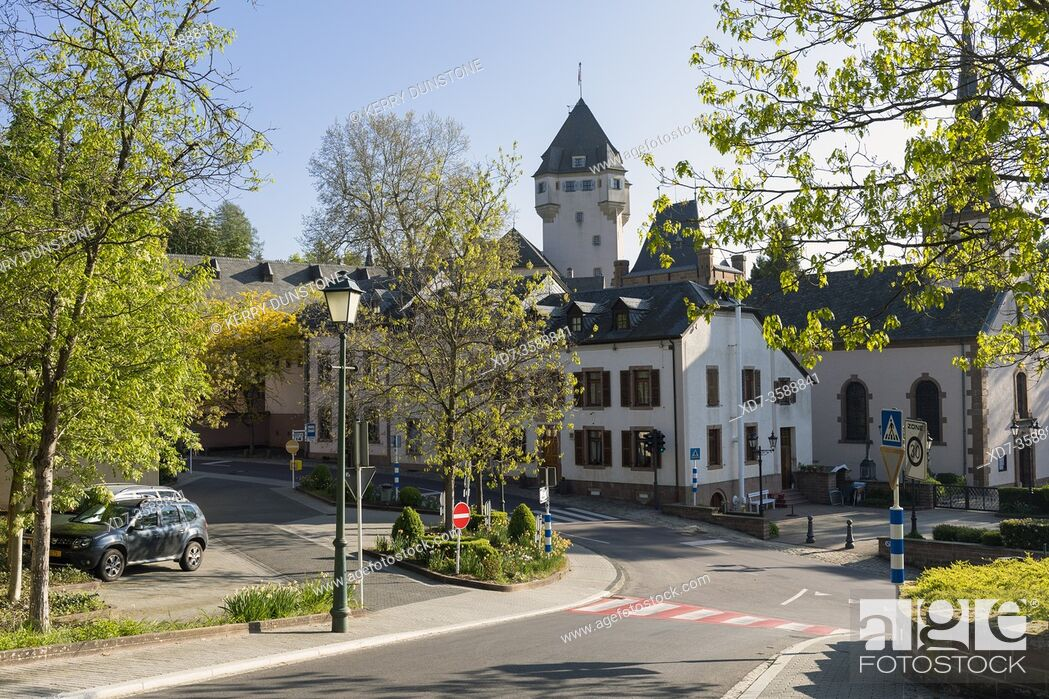 Stock Photo: Europe, Luxembourg, Colmar-Berg, Village Centre with distant Berg Castle (The Grand Duke of Luxembourg's Principal Residence).
