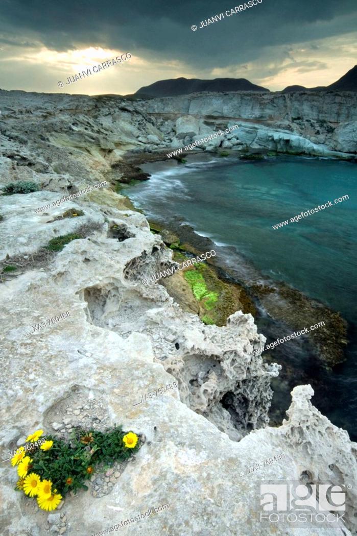 Stock Photo: Los Escullos coast. Cabo de Gata-Nijar Biosphere Reserve, Almeria province, Andalucia, Spain.
