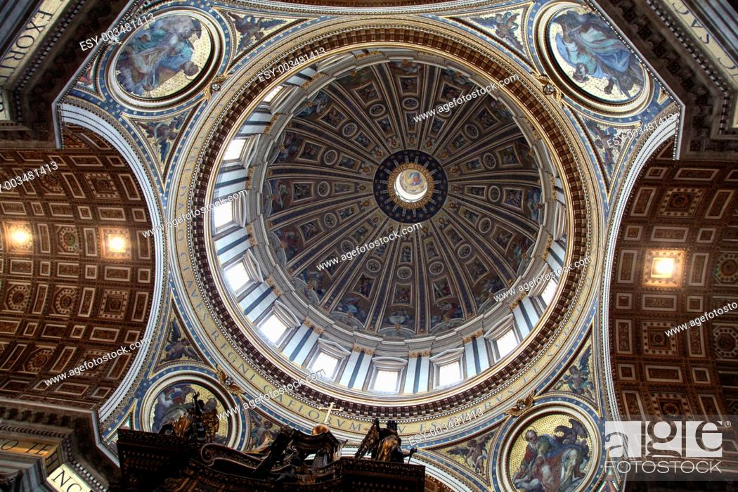 Stock Photo: Ceiling of St. Peter's Basilica. Vatican City.