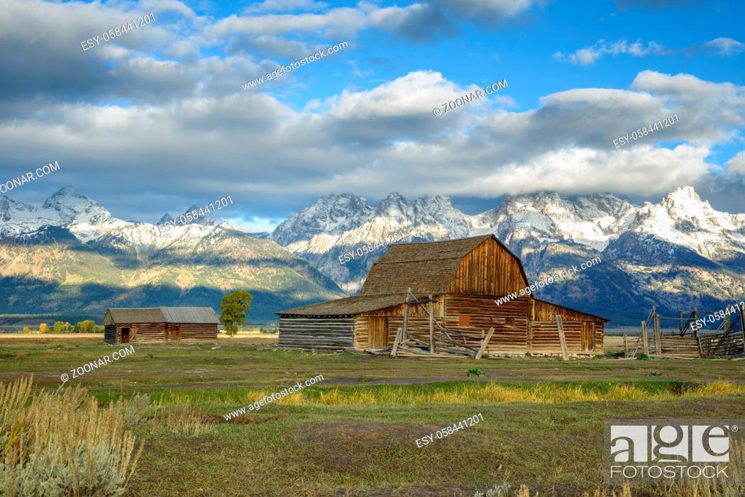Stock Photo: View of Mormon Row near Jackson Wyoming.