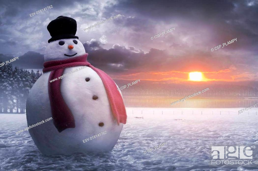 Stock Photo: Happy winter snowman.