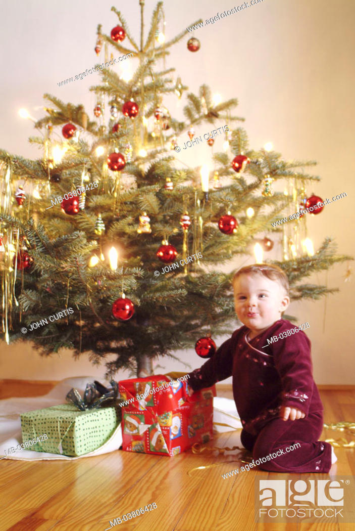 stock photo christmas tree decorated toddler joy christmas gifts series