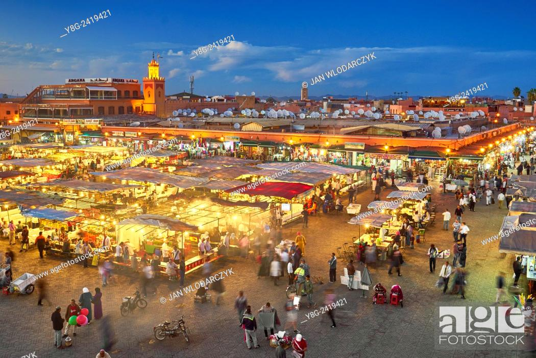 Stock Photo: Djemaa el-Fna square at dusk, Marrakech, Morocco, Africa.