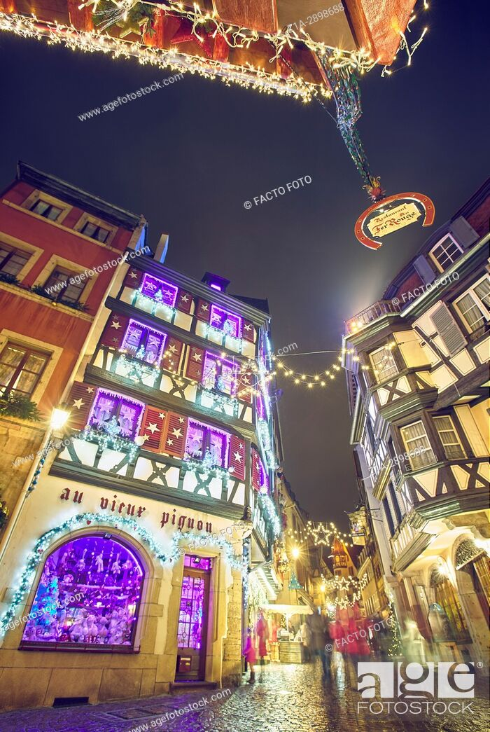 Stock Photo: Christmas decoration at the city center. Colmar. Haut-Rhin. Alsace. France.