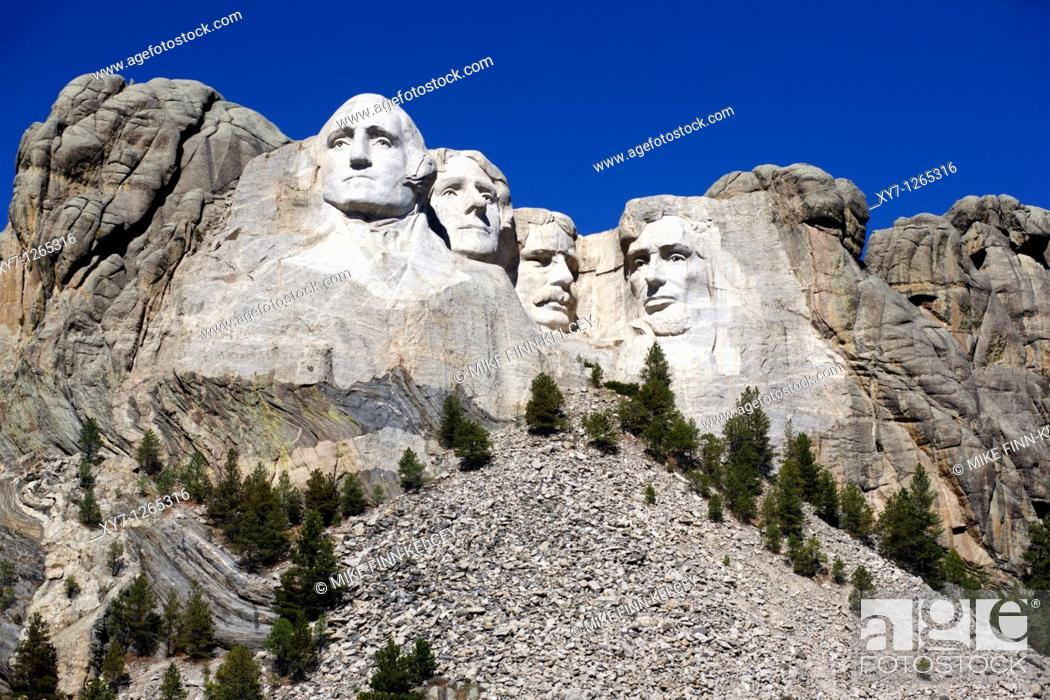 Stock Photo: The Mount Rushmore National Monument in the Black Hills in South Dakota, United States.