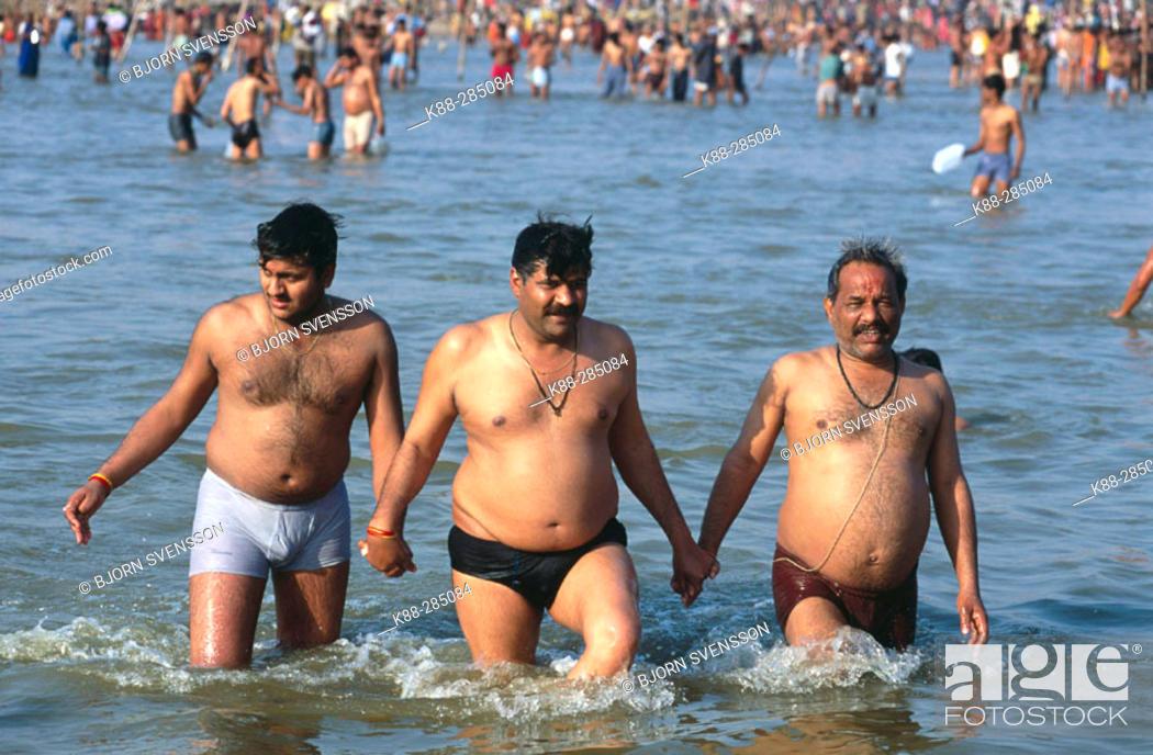 Stock Photo: Pilgrims bathing in the Ganges. Khumb Mela Festival (2001). Allahabad, India.