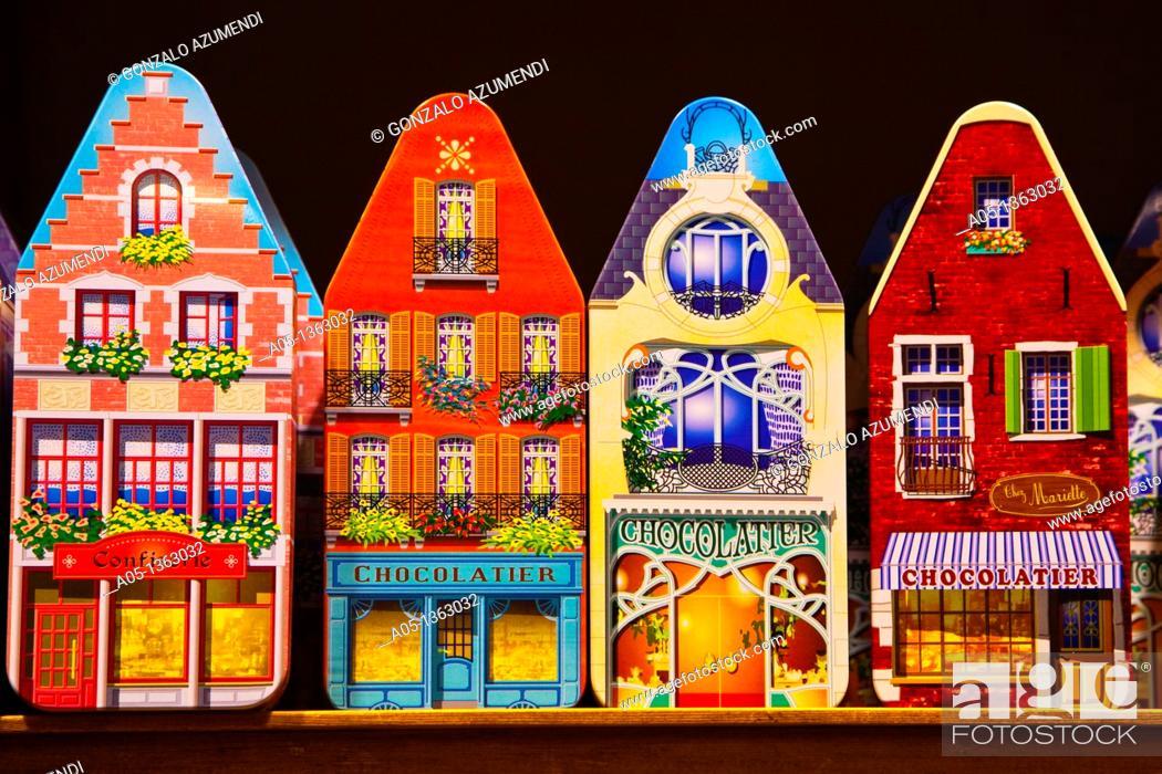Stock Photo: La Cure Gourmande Shop  Breidelstraaat  Bruges, Brugge, Flanders,Belgium, UNESCO World Heritage Site.