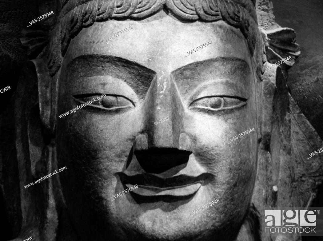 Stock Photo: Taiyuan, Shanxi province, China - Close up of the head of a Buddha statue at Taiyuan Museum.