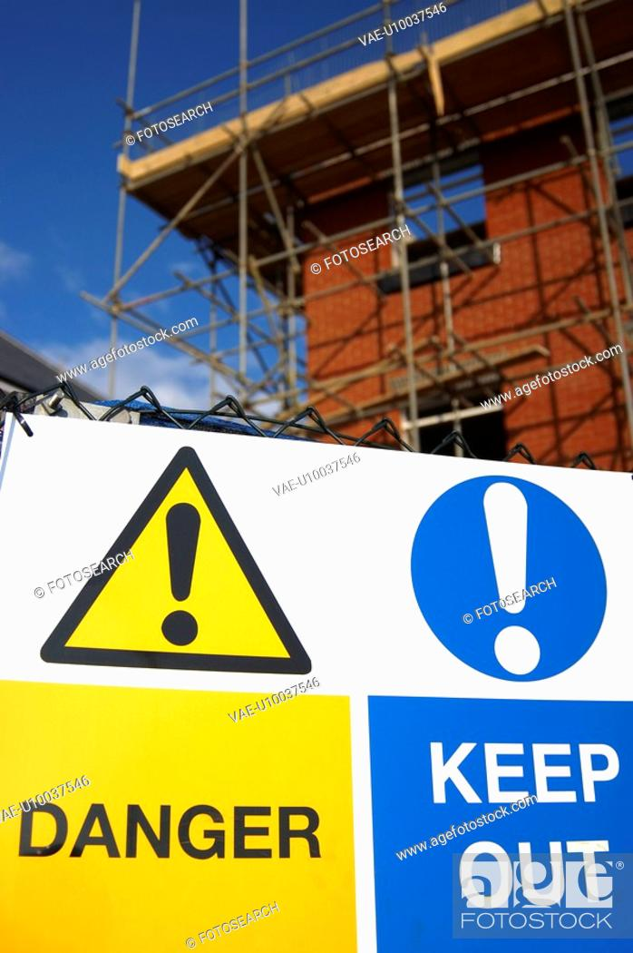Stock Photo: Restricted access sign on a new housing development site.