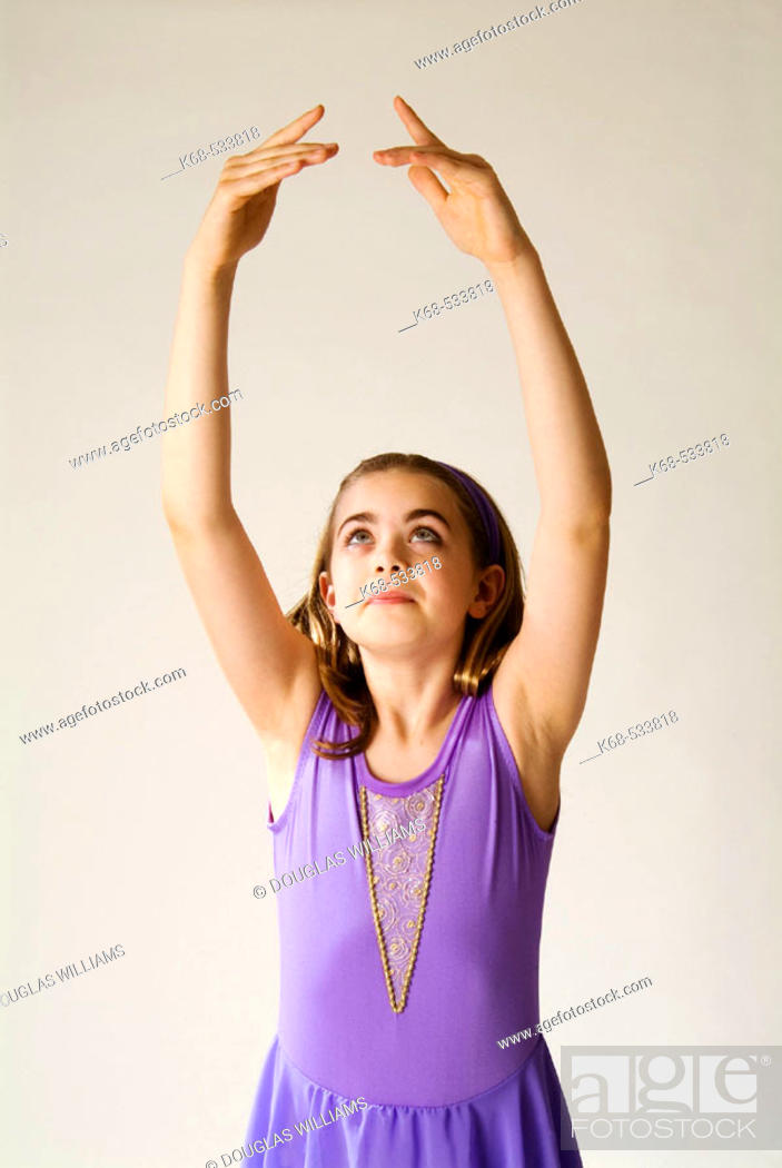 Stock Photo: ballet dancer, 10 years old, fifth position.