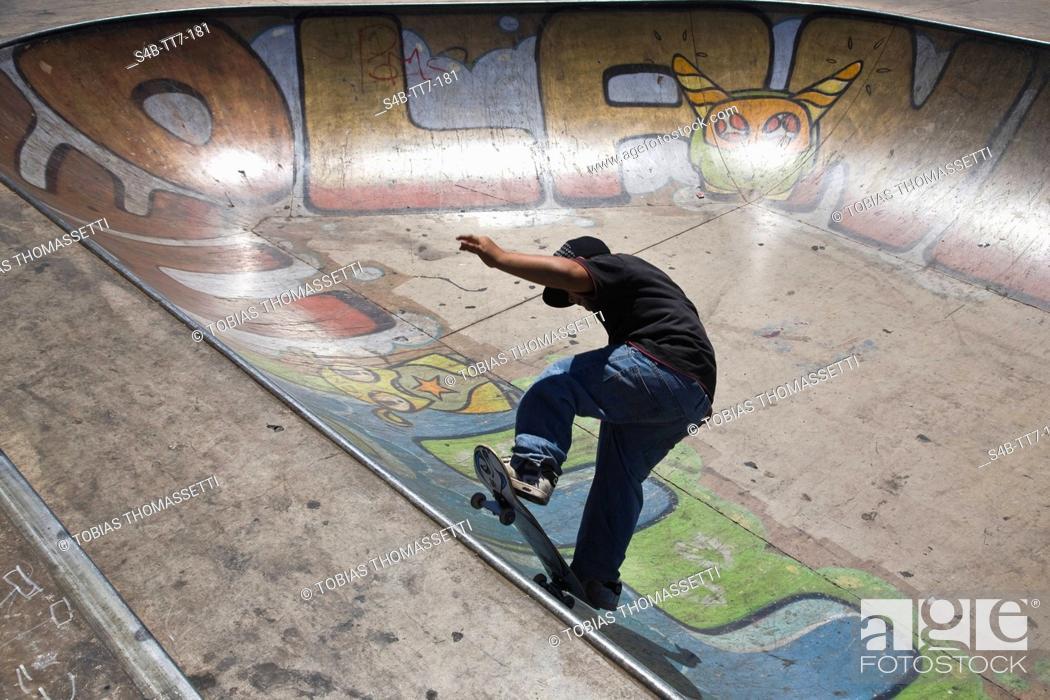 Stock Photo: Teenager on skateboard, Perth, Western Australia, Australia.