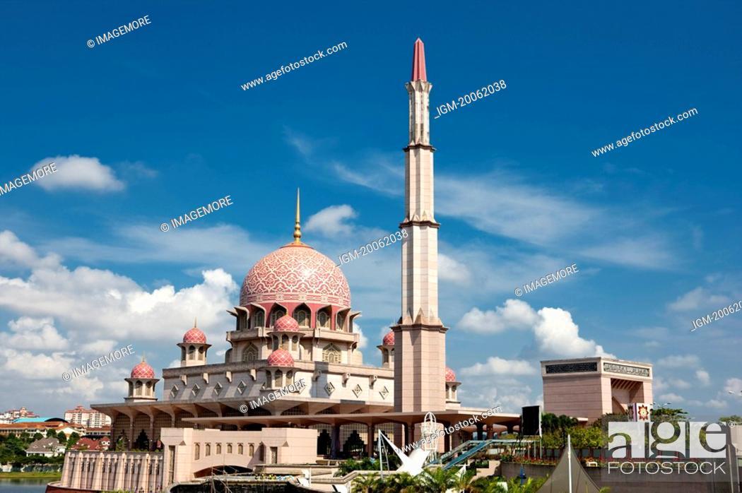 Stock Photo: Malaysia, Putrajaya, Pink Mosque.