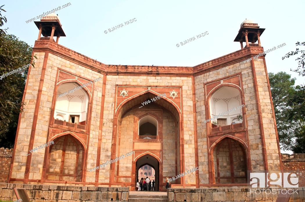Stock Photo: West Gate, Humayun's Tomb, New Delhi, India.