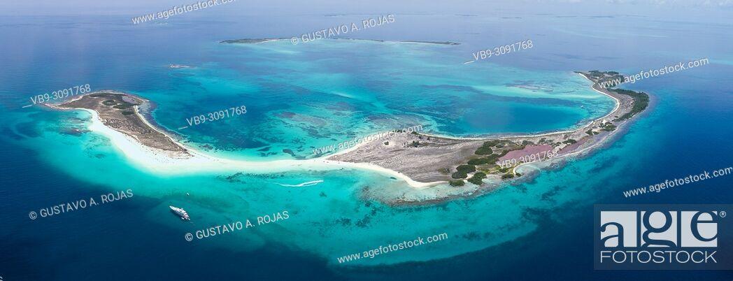 Stock Photo: Aerial view Tropical beach of island Cayo de Agua, Los Roques, Venezuela.