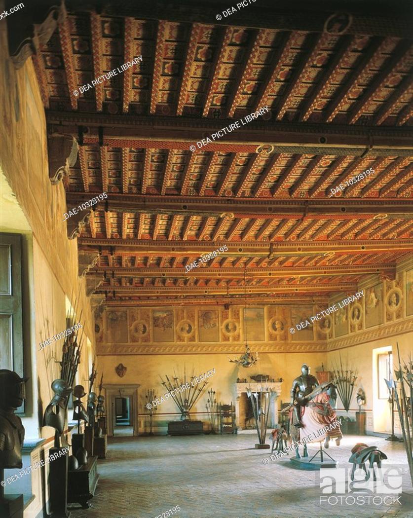 Stock Photo: The Weapons Room, Orsini-Odescalchi Castle, 1470-1485, Bracciano, Lazio, Italy.