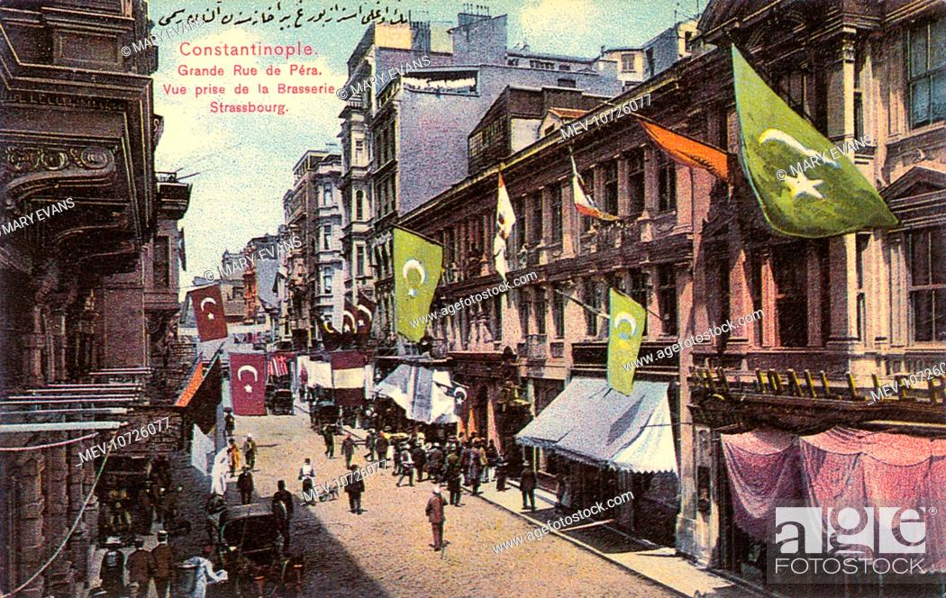 Stock Photo: Grand Street in Pera, Istanbul (European side of the Bosphorus). View close to the Brasserie Strassbourg. Also, on the right are the studios of probably the.