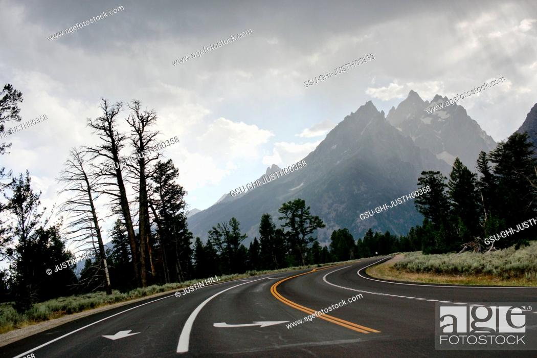 Stock Photo: Road Leading to Teton Mountain Range, Grand Teton National Park, Wyoming, USA.