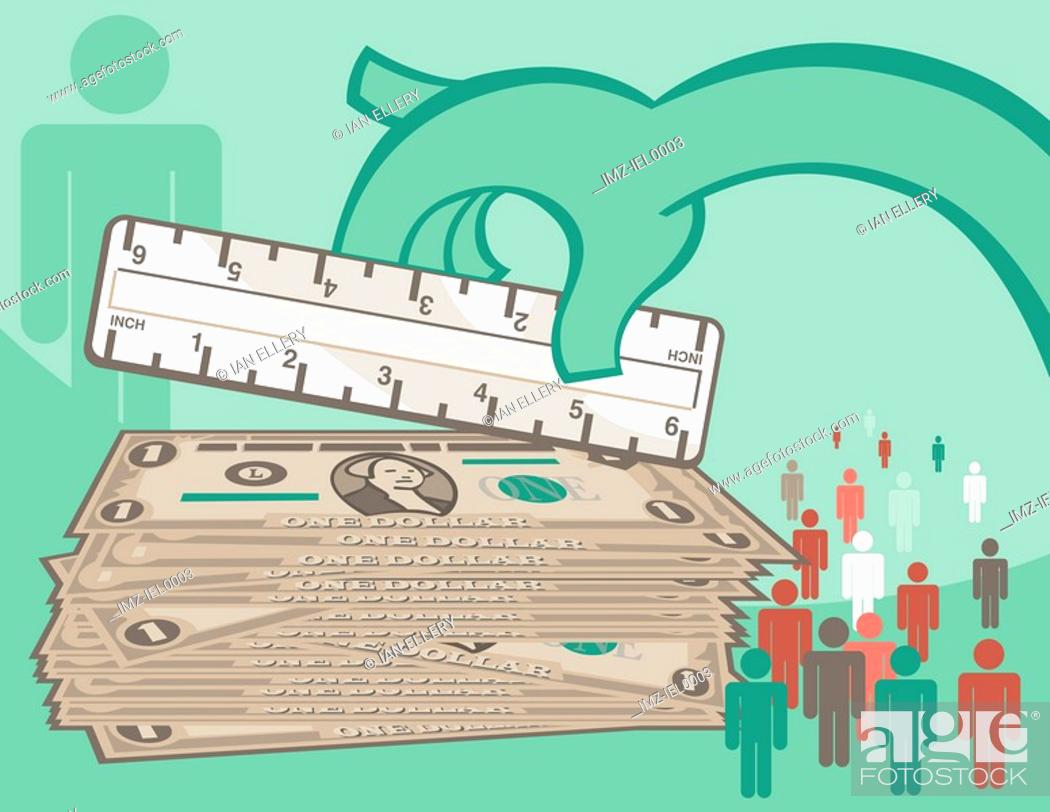 Stock Photo: A graphical illustration a large hand measuring a stack of dollar bills and male symbols figures.