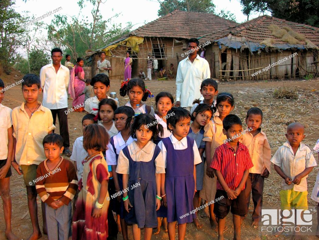 Stock Photo: Children , Adivasi Village Panvel , Maharashtra , India.