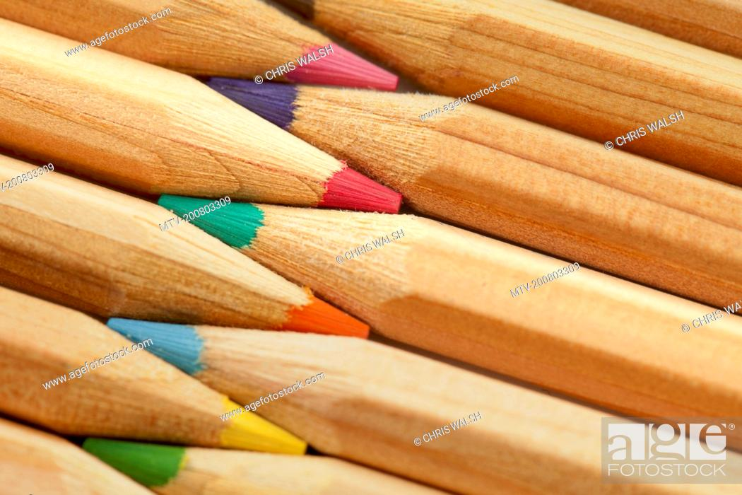 Stock Photo: Colour pencils still life macro close up detail.