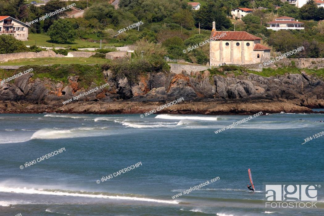 Stock Photo: Santa Catalina hermitage, Urdaibai Biosphere Reserve, Mundaka, Biscay, Basque Country, Spain.