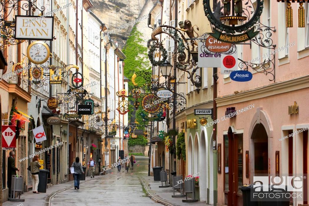 Stock Photo: Wrought iron signs along the Getreidegasse  Salzburg, Austria.