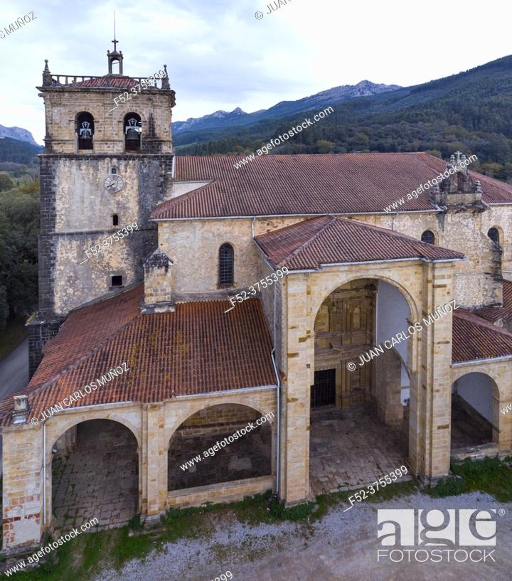 Imagen: View from a drone of the Church of San Vicente, Guriezo, Cantabria, Spain, Europe.