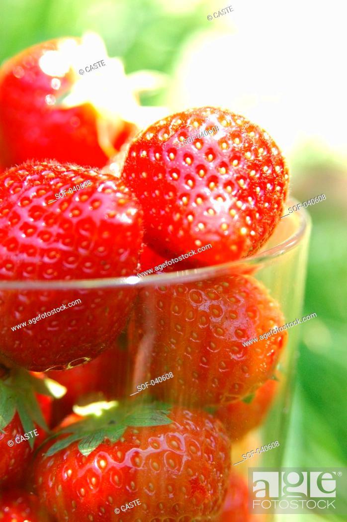 Stock Photo: strawberries in glass.