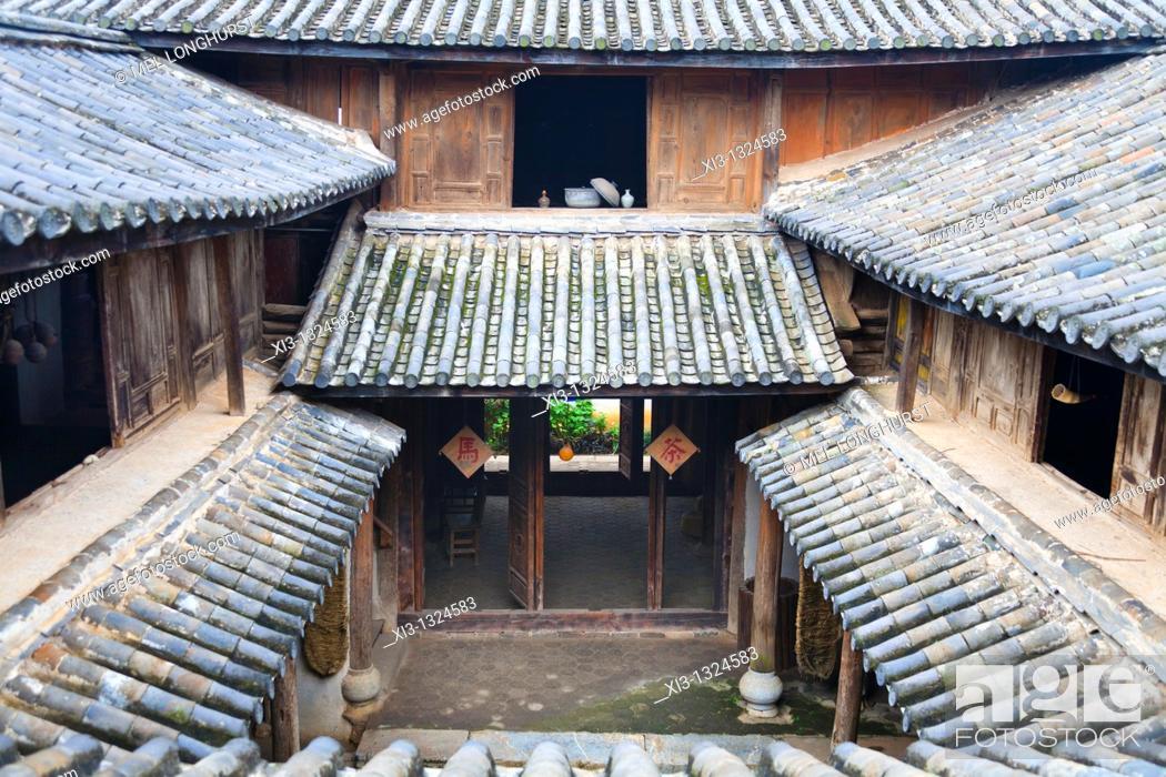 Stock Photo: Rooftop, Yunnan Horse Caravan Cultural Museum, Yunnanyi, Yunnan Province, China.