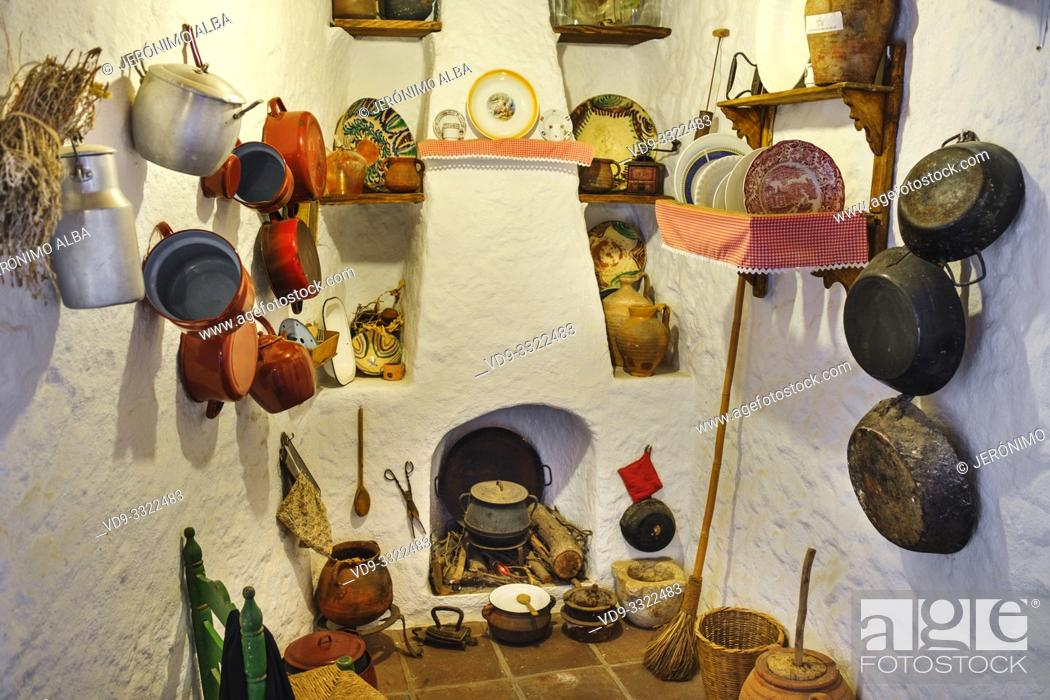 Stock Photo: Typical traditional Andalusian kitchen. Casa Ethnographic Museum, Mijas Pueblo. Malaga province, Costa del Sol. Andalusia, Spain Europe.