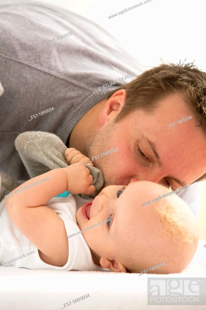 Stock Photo: Father with his baby son.