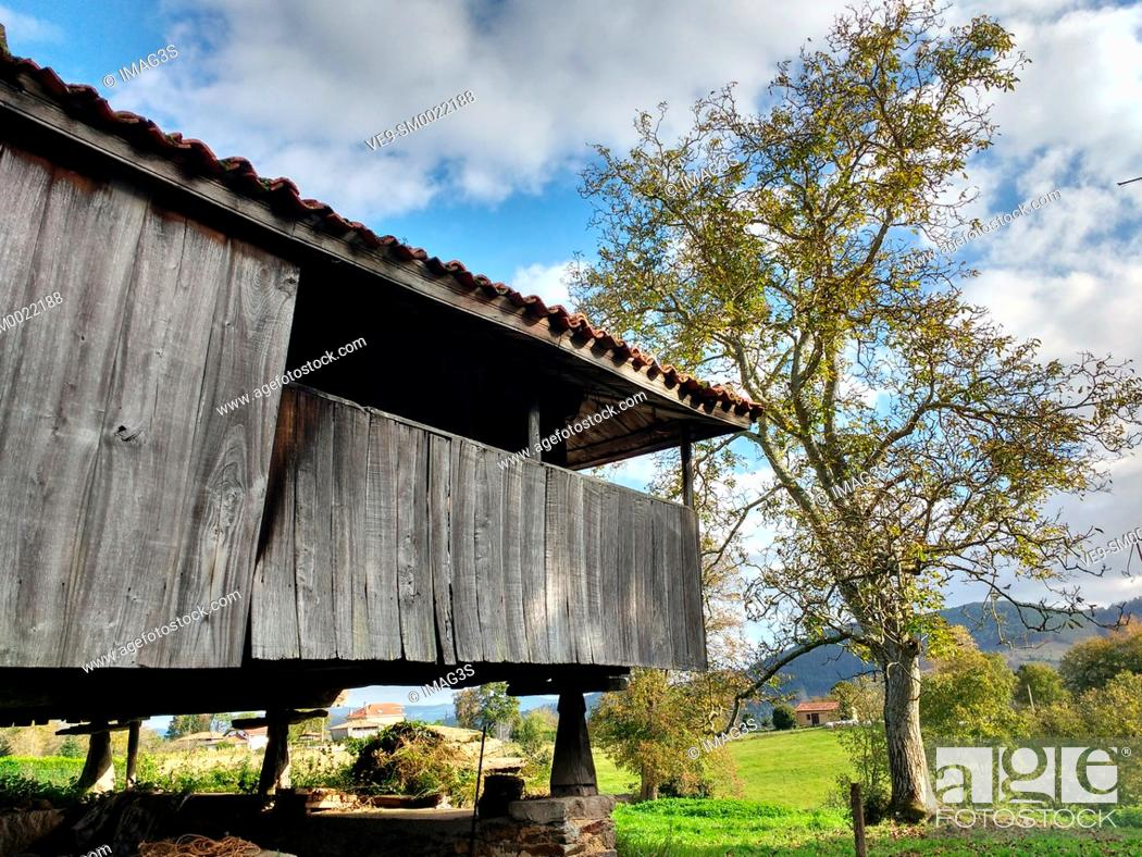 Stock Photo: Hórreo in Folgueras village, Pravia munilipality, Asturias, Spain.