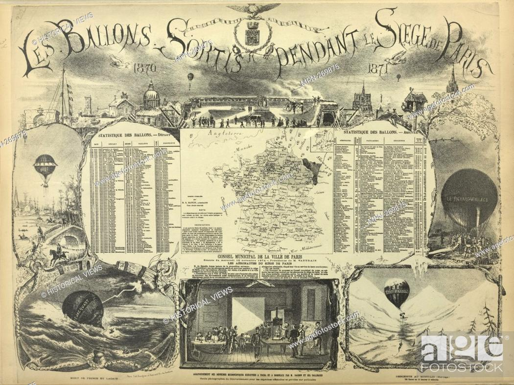 Stock Photo: Map of the landings of the postal balloons out of Paris during the Siege (September 23, 1870. - January 28, 1871.) Additional title: The Balloons Out during the.