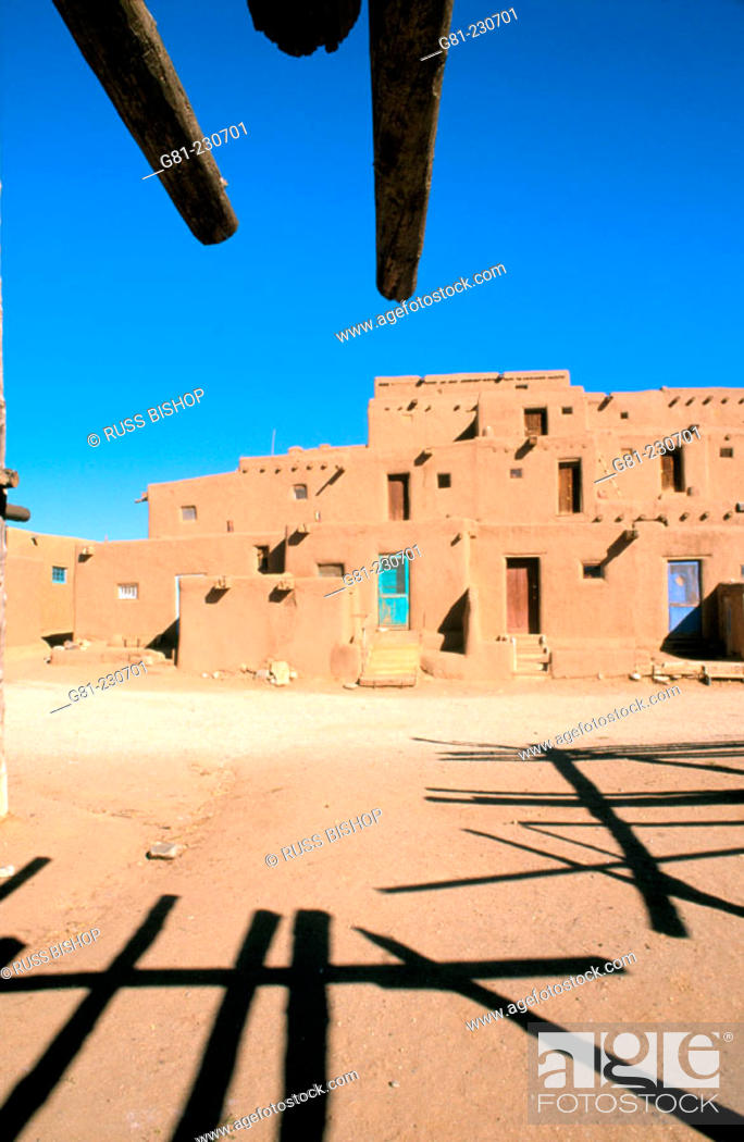 Stock Photo: Morning light on the 3-story adobe North House (World Heritage Site), Taos Pueblo, New Mexico, USA.