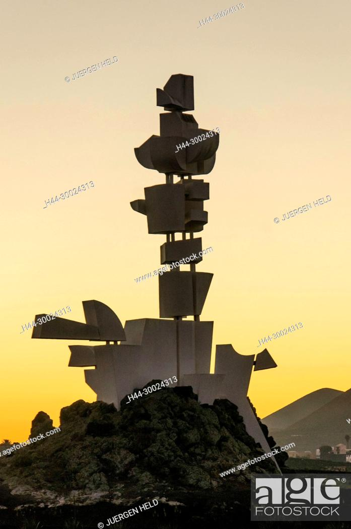 Stock Photo: Monumento Al Campesino, sunset, Mozaga, Lanzarote, Canary Islands, Spain.