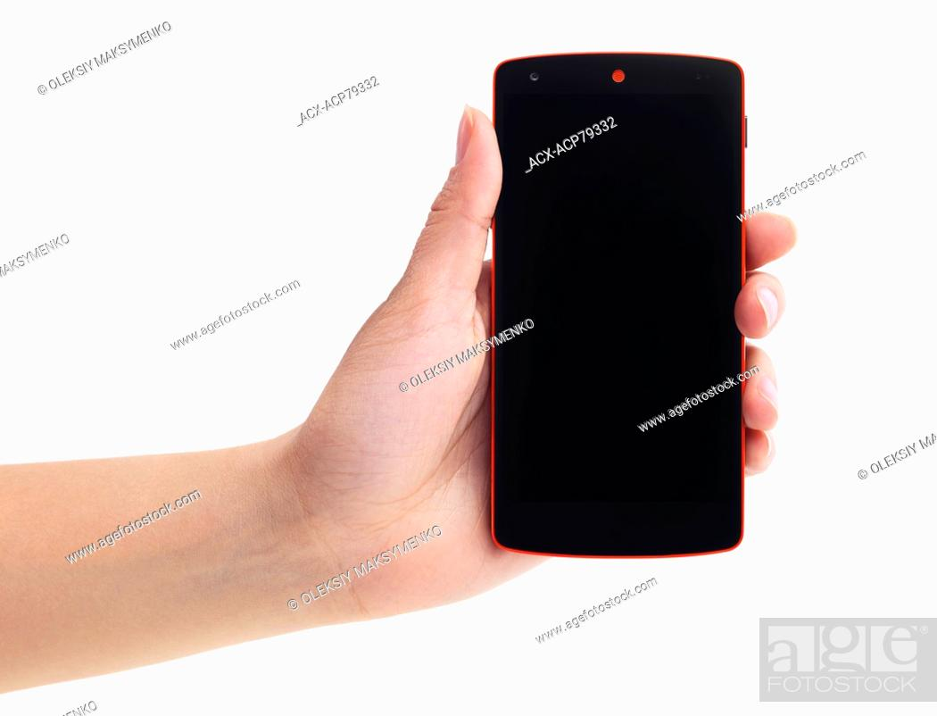 Lg Google Android Nexus 5 Phone In Woman S Hand Isolated On