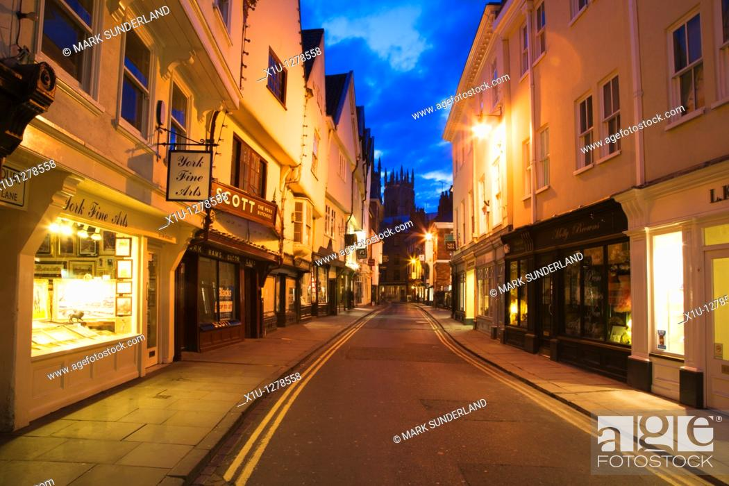 Stock Photo: Low Petergate at Dusk looking toward The Minster York Yorkshire UK.