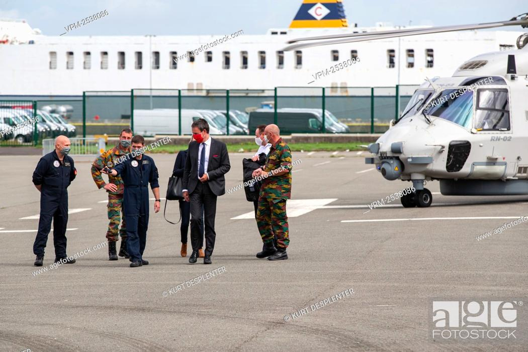 Stock Photo: Minister of Foreign Affairs and Defence Philippe Goffin pictured during a visit of Defence Minister to the military diving school at the Zeebrugge naval base.