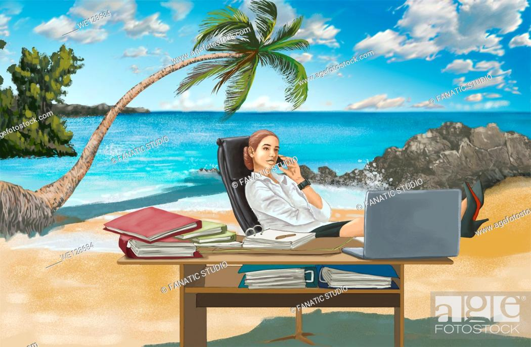 Stock Photo: Illustrative image of businesswoman working at desk on island representing business trip.
